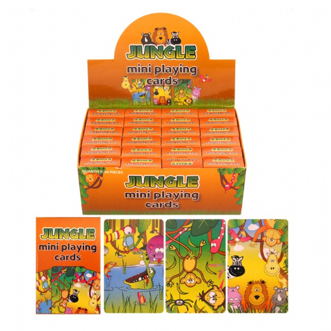 24 x Packs Of Jungle Animals Themed Mini Playing Cards - Wholesale Bulk Buy Party Bag Fillers